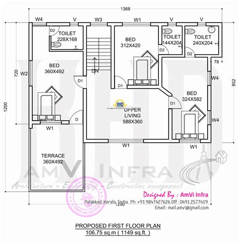 floor plans in floor plan and elevation 2277 sq ft house home kerala plans