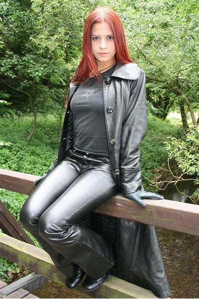 Leather Amateur Pants Redhead Leder Mature Coats