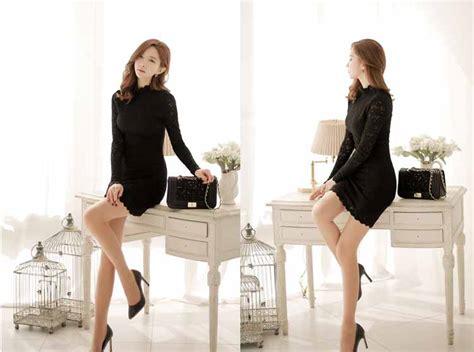 dress mini lengan panjang hitam elegant jual model