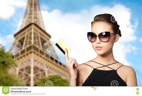 Beautiful Young Woman In Elegant Black Sunglasses Stock