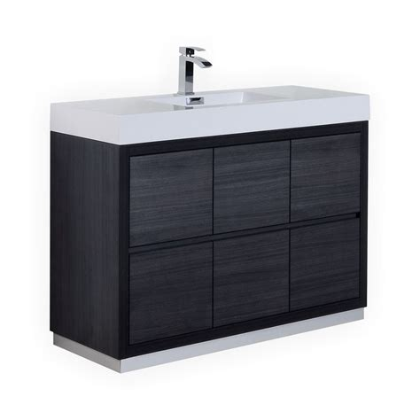 48 bathroom vanity with top and sink 48 inch integrated sink top gray oak finish free standing