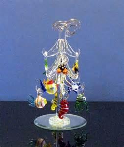 mini glass christmas palm tree w fish ornaments 157 ebay