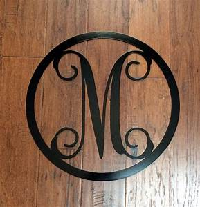 metal monogram letter with circle border wreath door With metal monogram letters for wall