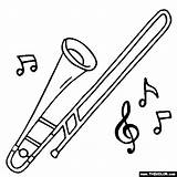 Trombone Coloring Instrument Drawing Instruments Piccolo Musical Trombones Tenor Bass Template Jazz Results Getdrawings sketch template