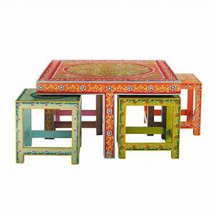 Table Basse Boheme : table basse 4 tabourets en acacia multicolores l 80 cm roulotte maisons du monde ~ Teatrodelosmanantiales.com Idées de Décoration