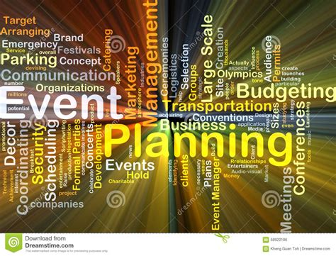 event planning background concept glowing stock