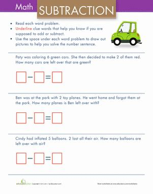 simple subtraction word problems worksheet education