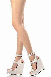 White Faux Leather Ankle Strap Wedges @ Cicihot Wedges ...