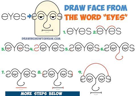 draw  mans face head   word eyes