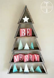 diy wood shelf christmas tree
