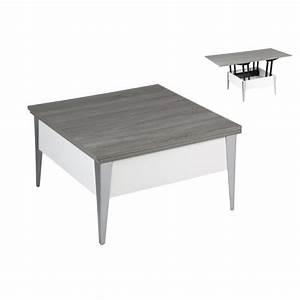 Table Basse Blanc Gris : table basse relevable blanc ch ne gris achat vente table basse table basse relevable blanc ~ Teatrodelosmanantiales.com Idées de Décoration