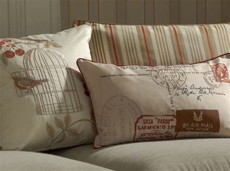 Shabby Chic Songbird Embroidered Cushion Terracotta By Iliv