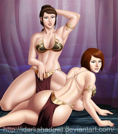rule 34 2girls armlet ass bastila shan bikini top blue eyes breasts brown hair jedi kira