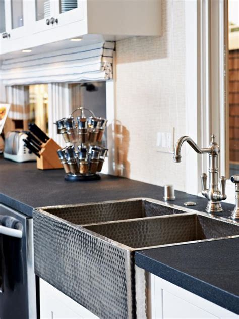 hammered stainless steel apron front sink photo page hgtv