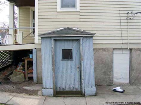 attached shed basement entrance freedom builders