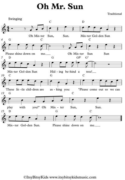 Leadsheet of the nursery rhyme
