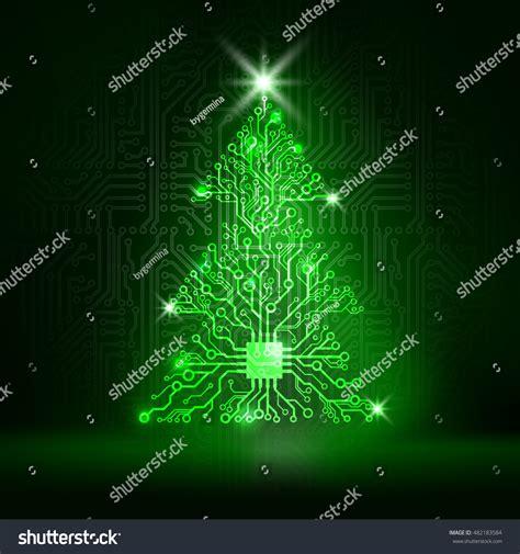 Vector Circuit Board Christmas Tree Stock