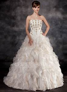 ball gown strapless court train organza wedding dress with With cascading ruffles wedding dress