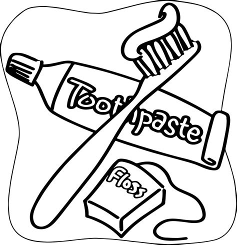 Toothbrush And Toothpaste Coloring Page Dental Floss Brush Toothpaste Coloring Page