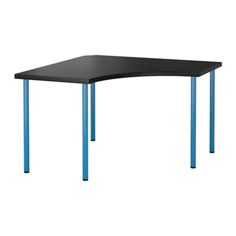 ikea corner desk top linnmon adils corner table black brown blue ikea
