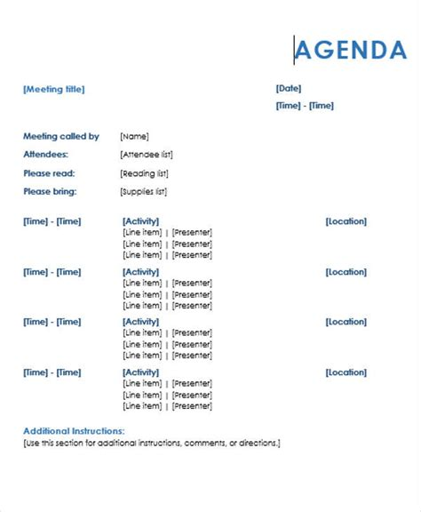 agenda outline templates   word  format