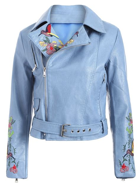 light blue leather jacket womens women 39 s zipper fly bird embroidered faux leather jacket in