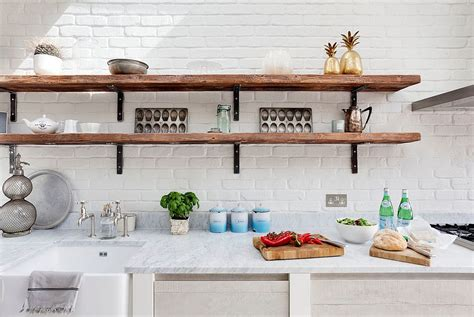 design for kitchen shelves rustic white kitchen with slim and rustic open shelves 6560