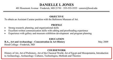 Resume With Coursework Listed by Writing Your Resume College