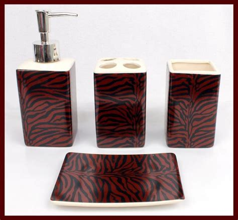 4 pc black burgundy zebra ceramic bathroom set soap toothbrush dispenser tumbler