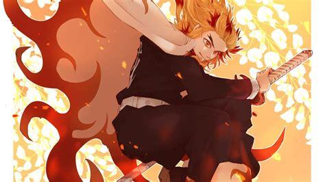 Demon Slayer Kyojuro Rengoku With Red Hair Having Sword