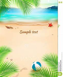 Summer Beach Background, Seascape, Sand And Wave. Vector ...