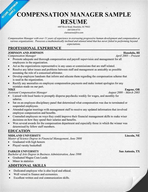 compensation manager resume resumecompanioncom cover