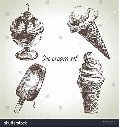 Illustrations Ice Drawn Cream Hand Shutterstock Vector