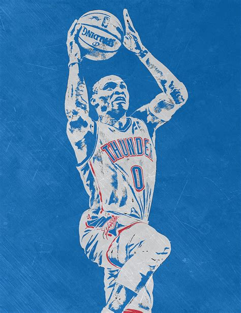 Russell Westbrook Scratched Metal Art 2 Mixed Media By Joe