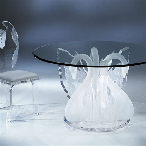 clear acrylic dining table acrylic clear legend swan round dining table with glass top