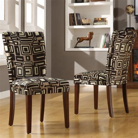 dining room by parson chair chevron slip cover furniture