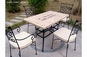 Salon De Jardin Mosaique : table de jardin mosa que en pierre naturelle tampa 160 et 200cm living 39 roc ~ Teatrodelosmanantiales.com Idées de Décoration