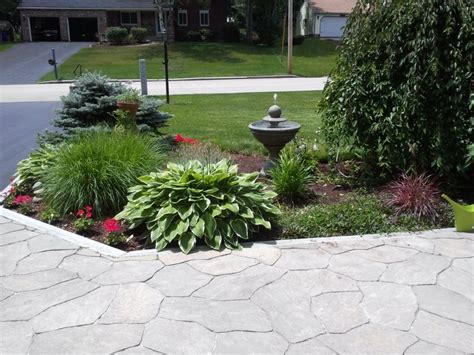 tiered front yard landscaping small fountain stone pathway simple tiered garden design on frontyard garden