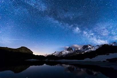 Sky Night Mountains Stars Lake Water Reflection