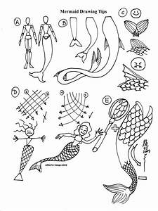 How to draw anime mermaids colouring pages