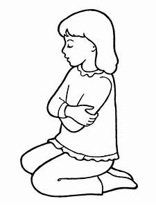 picture of little girl praying black and white clipart ...