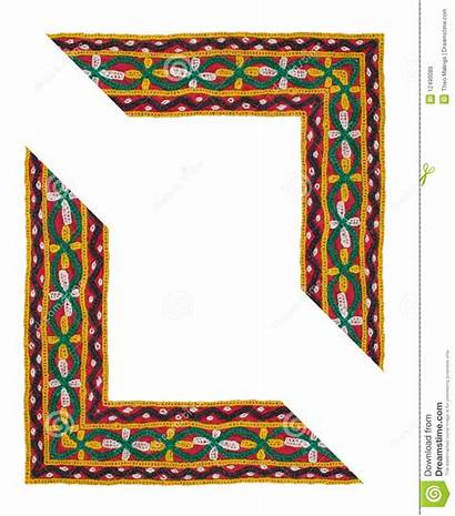 Border Shaped Textile Frame Ethnic Isolated Embroidered