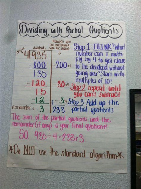 dividing  partial quotients  anchor charts pinterest