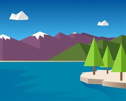 Material Wallpapers Lake Desktop Nature Flat Animated