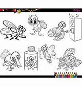 Flies Coloring Vector Cartoon Poo Cartoons Vectors sketch template