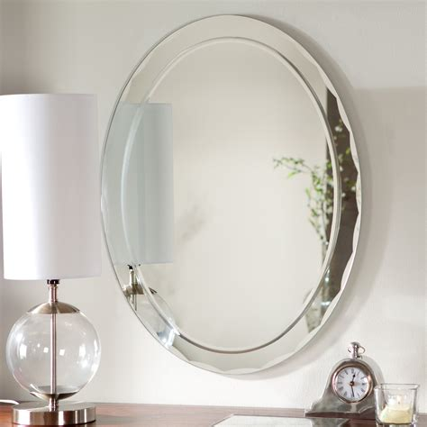 L For Mirror by Uttermost Frameless Oval Beveled Vanity Mirror Hayneedle