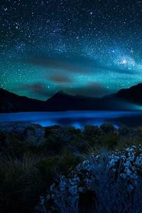 Blue starry sky blue sky night beautiful clouds stars ...