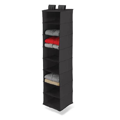 Black 8 Pocket Shelf Hanging Sweater Clothes Organizer