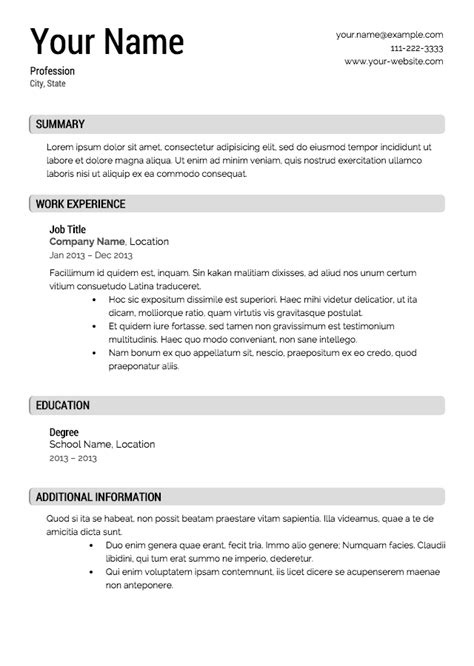 clean resume template berathen