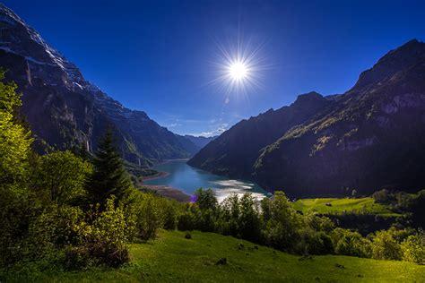 壁紙、スイス、山、湖、風景写真、Lake Klontal Glarus、太陽、低木、自然、ダウンロード、写真